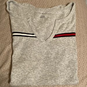 Women's Tommy Hilfiger Gray V-Neck Shirt Size XS